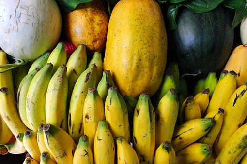 Fruit, Bananas, Melons, Food, Healthy, Organic, Fresh