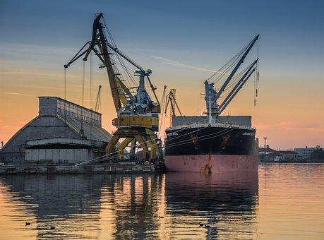 Vessel, Port, Loading, Ship, Sea, Transportation