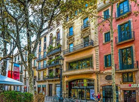 Barcelona, Spain, Facade, Tree, Street, Building
