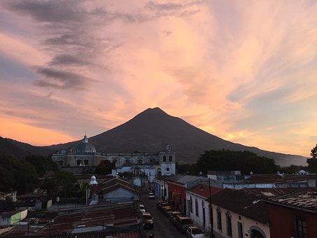 Sunset, Guatemala, Volcano