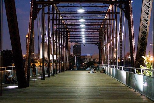 Bridge, Night, City, Architecture, Dusk, Twilight