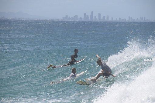 Surfing, Gold Coast, Ocean, Australia, Queensland
