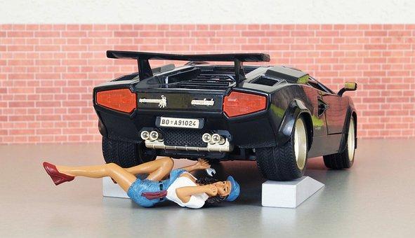 Model Car, Auto, Lamborghini, Mechanic, Workshop