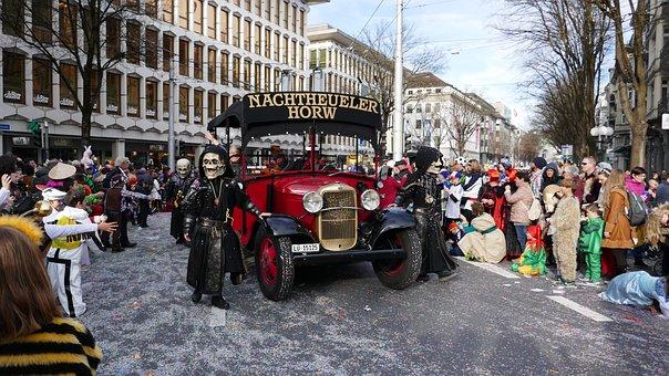 Carnival, Lucerne, Mask, Costume, Panel