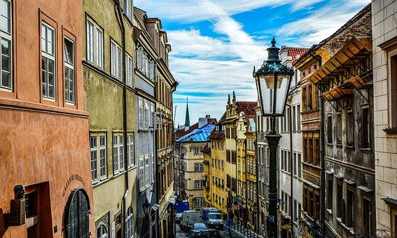 Prague, Street, Sky, Czech, Europe, European, Urban