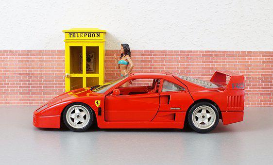 Model Car, Ferrari, F40, Sporty, Red, Vehicle, Toys