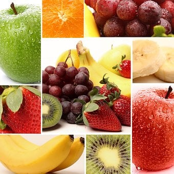 Apple, Orange, Banannen, Kiwi, Grapes, Strawberry