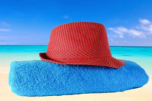 Hat, Towel, Sea, Holiday, Beach, Dry, Dune, Nature