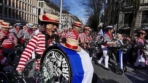 Carnival, Lucerne, Mask, Costume, Panel, Parade, Move