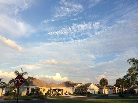 The Villages, Florida, Home, Palm Trees, Clouds, Sky