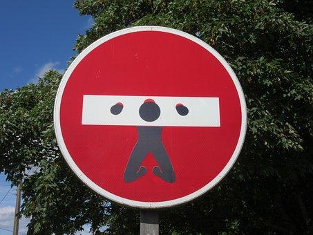 Panel, Logo, Road Sign, Man, Prison, No Entry