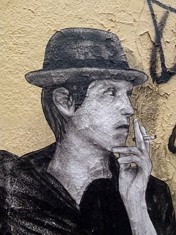 Wall, Art, Paris, Graffitti, Man, Hat, Smoking