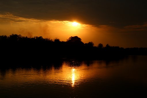 Sunset, Water, Reflection, Sun, In The Evening, Red