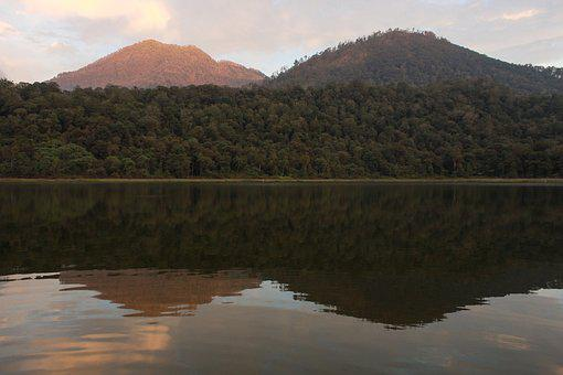 Mountains, Lake, East Java, Indonesia, Water, Dawn