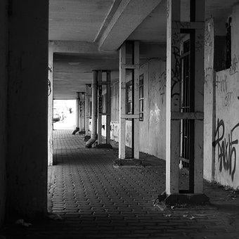Arcade, Urban, Weathered, Old Building, Outskirts