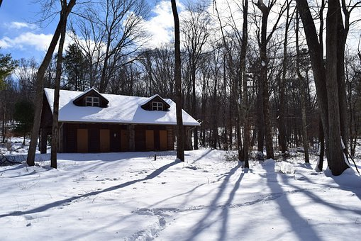 Cabin, Snow, Winter, White, Shadow, Trees, Nature, Sky