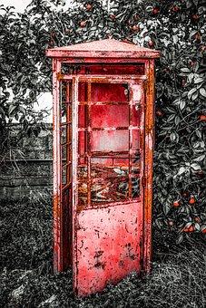 Telephone Box, Rusty, Aged, Antique, Retro