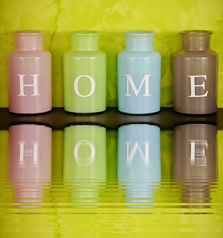 Home, At Home, Vases, Colorful, Mirroring, Water, Glass