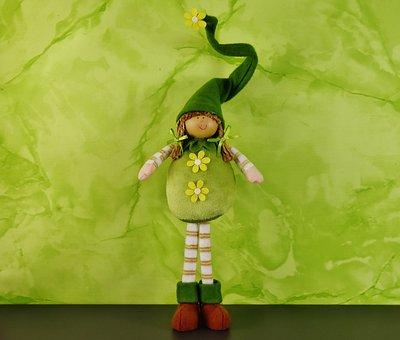 Spring Imp, Green, Doll, Imp, Funny, Dwarf, Cute