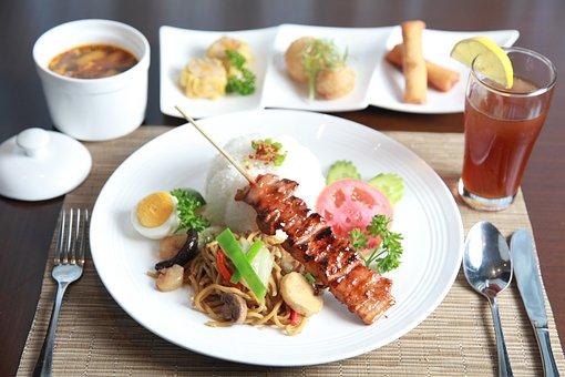 Pork Barbecue, Noodles, Lunch Set, Pork, Meal, Food