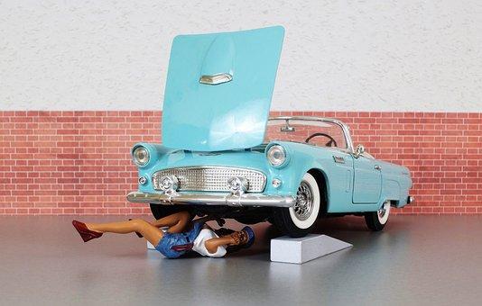 Model Car, Ford, Ford Thunderbird, Mechanic, Workshop