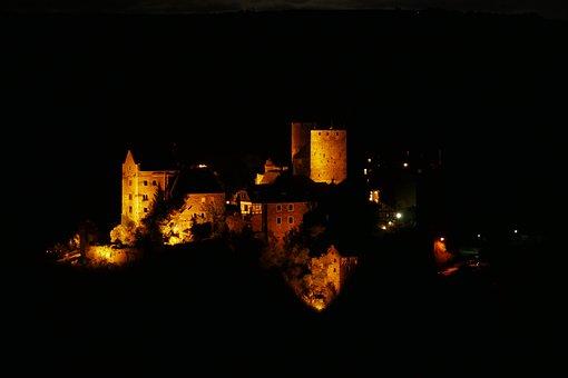 Castle, Night, Lighting, Germany, Illuminated