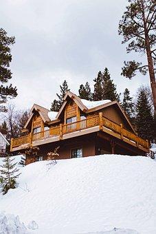 Log Cabin, House, Chalet, Home, Landscape, Winter, Snow