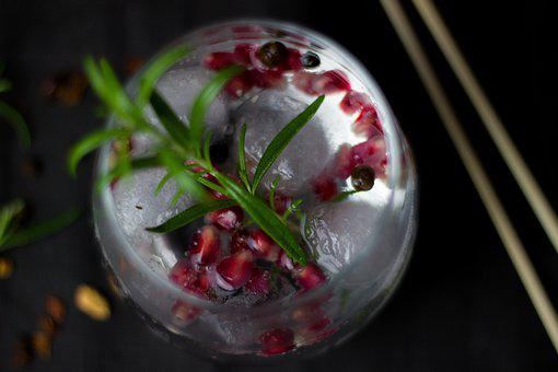Cocktail, Drink, Alcohol, Ice Cubes, Rosemary