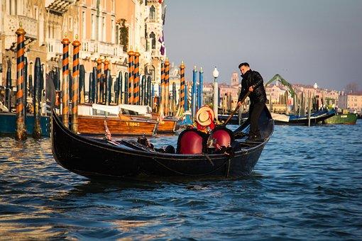 Gondola, Gondolier, Venice, Italy, Grand Canal, Boat