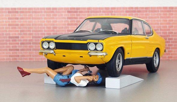Model Car, Ford, Ford Capri, Model, Mechanic, Workshop