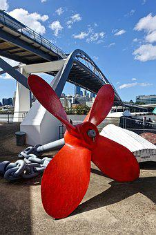 Propeller, Red, Ship, Port, Spin, Relic, Transportation