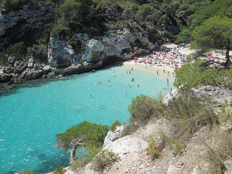 Beach, Cala, Sea, Costa, Blue Water, Summer, Minorca