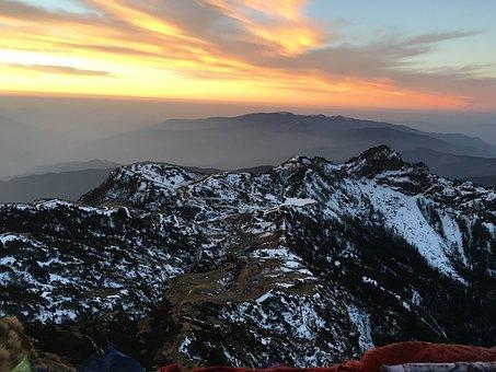 Sunrise, Mountain, Snow, Sun, Sky, Cloud, Morning, Hill