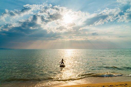 Boy, Beach, Sand, Sunset, Tropical, Sea, Ocean, Travel