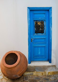 Door, Wooden, Blue, Entrance, White, Wall, Pottery