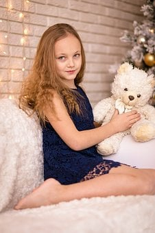 Girl, Toy, Bear, Child, Kid, Little, Happy, Childhood