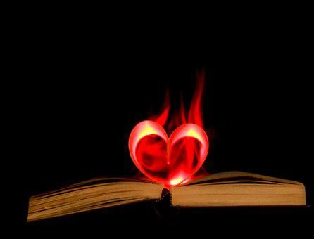 Book, Flame, Heart