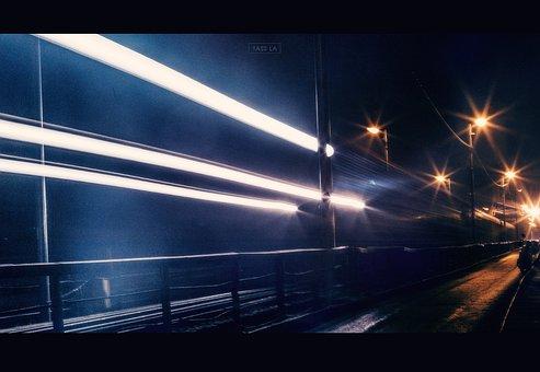 Ship, Travel, Light, Long Bien Bridge, Scenery, Night