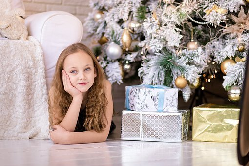 Girl, Beautiful, Box, Gift, Present, Happy, People