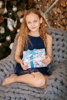 Girl, Beautiful, Box, Gift, Present, Happy, People