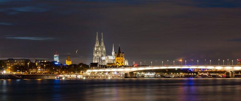Dom, Cologne, Landmark, Rhine, Evening