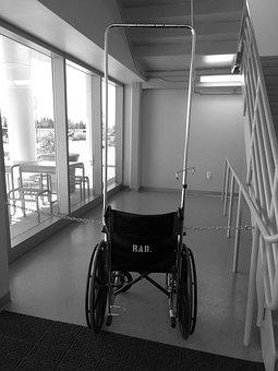 Wheelchair, Hospital, Black And White, Transportation