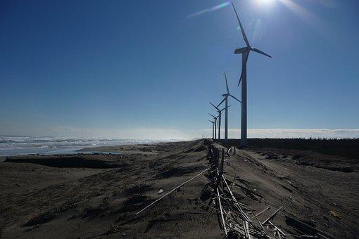 Sea, Coast, Surf, Sandy, Wave, Wind Turbine