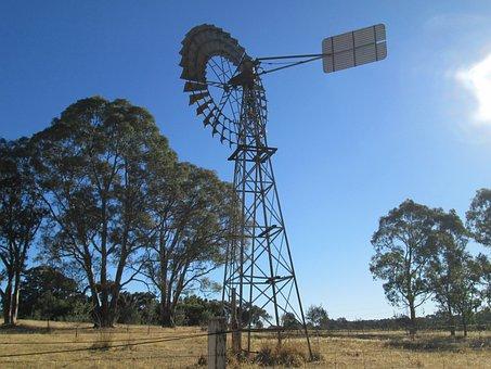 Australia, Wind Vane, Farm, Windmill