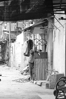 Old Age, Poverty, China, Slum, Bw, Photo, People