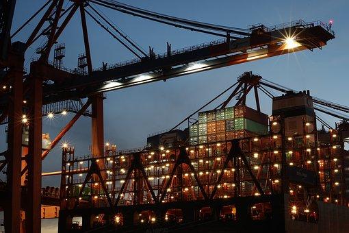 Hamburg, Port, Cranes, Container Ship, Water, Elbe