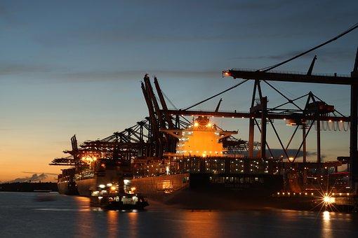 Container Ship, Hamburg, Port, Crane, Water