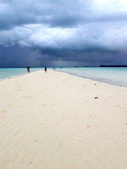 White Beach, Plank, Marine, Dark Clouds