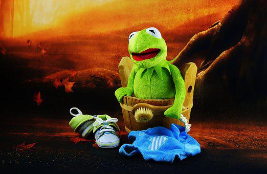 Swim, Kermit, Brush, Bad Day, Funny, Plush, Fun, Toys