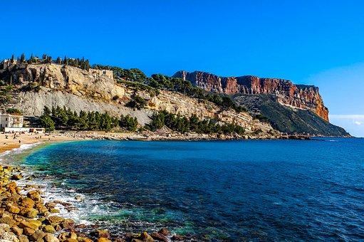 Sea, Coast, Beach, French Riviera, Landscape, Seascape